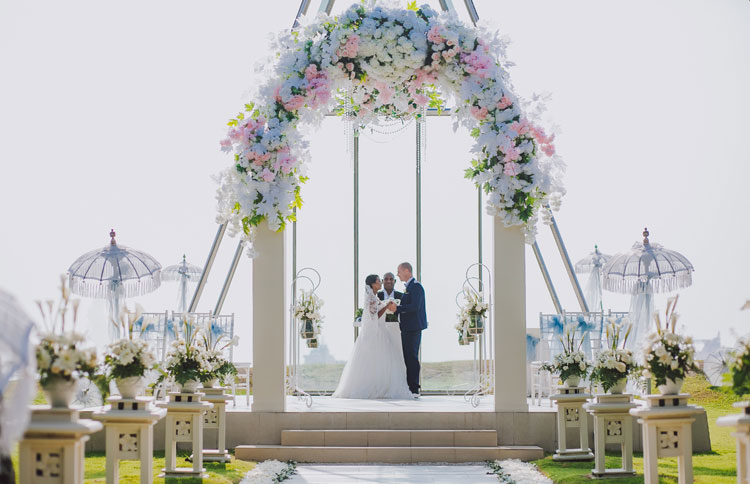 Bali Chapel Wedding at Grand Mirage Bali located by the beach with splendid view of Indian Ocean
