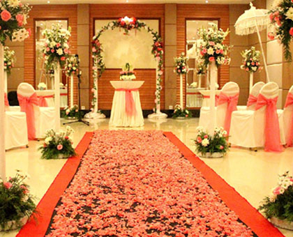 Indoor wedding venue, provides at the Grand Mirage's ballroom