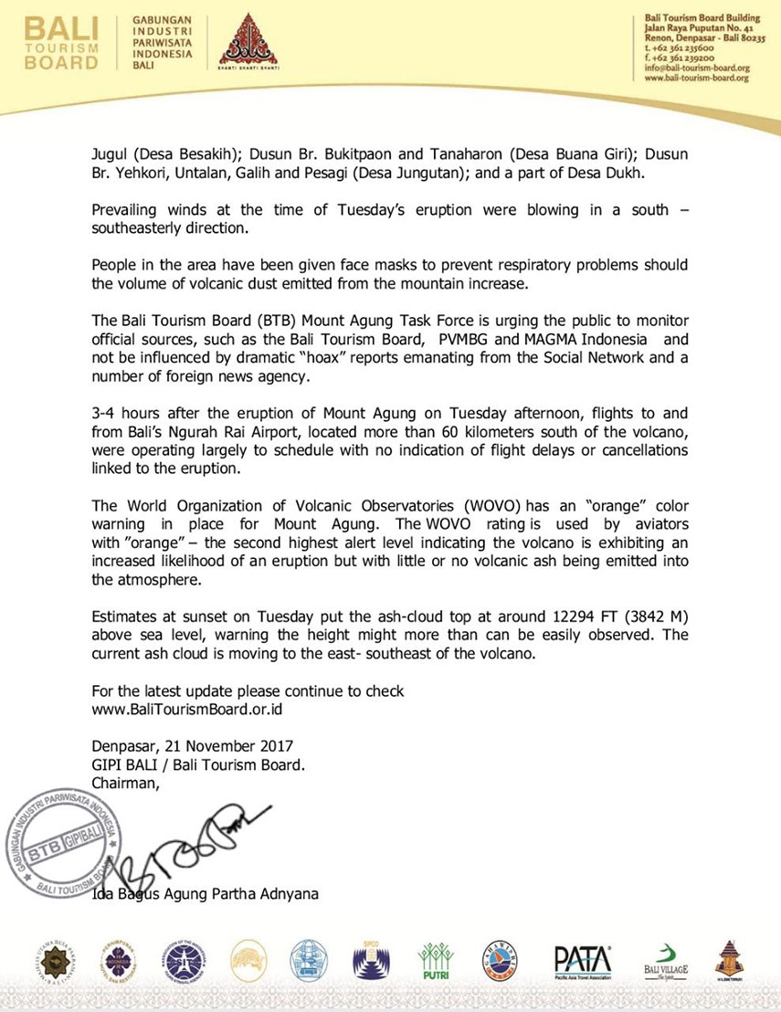 Bali tourism board official statement - Mount Agung
