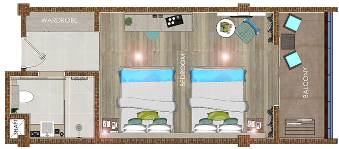 Family studio queen room layout Grandmirage Resort Bali