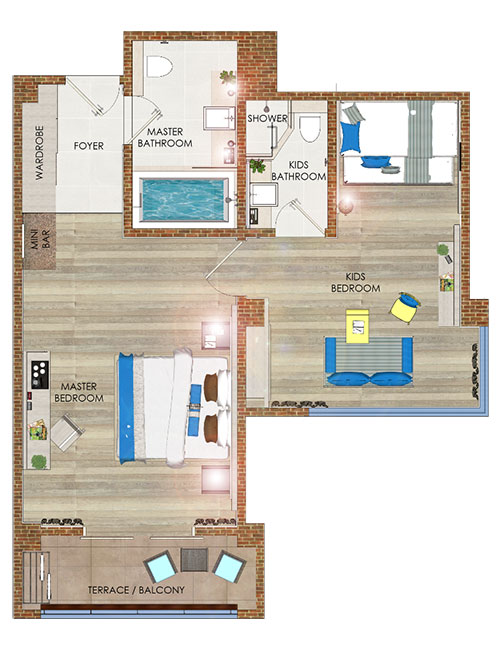 Junior Suite room layout, Grandmirage Resort Bali